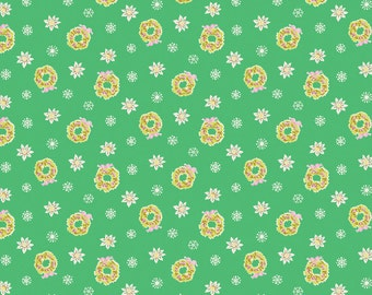 Green Retro Christmas Fabric - Penny Rose Fabric - Green Little Joys Fabric - Green Christmas Fabric By The 1/2 Yard