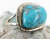 Morenci Turquoise Ring in Sterling Silver Size 8