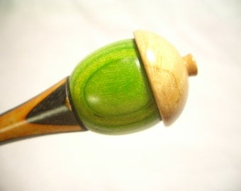 Orange and Black, Neon Green and Choke Cherry Burl Acorn Hairstick