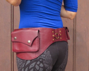 Utility Belt Leather Belt Bag Burning Man Waist Bag Hip Travel Belt with Pockets in Dark Red HB27e * Free Shipping*