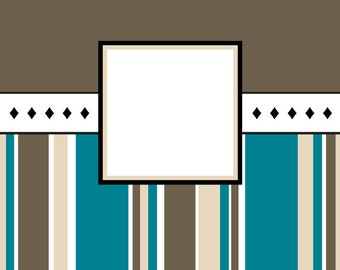 Note Cards with Envelopes (set of 10) - Stampable, Personalized - Stripes