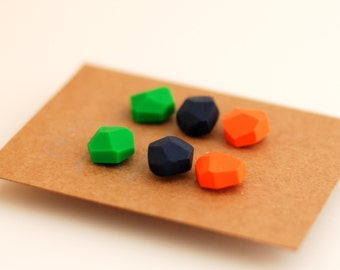 Diamond shape studs Geometric post earrings set of three - green, dark blueberry blue, orange