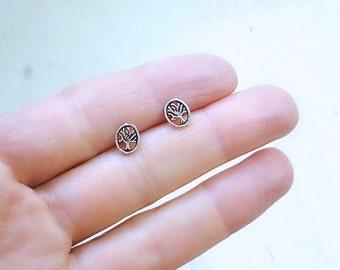 Tree earrings, everyday silver earrings, sterling silver studs