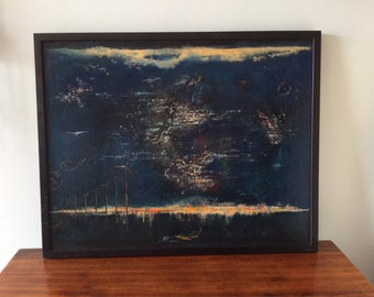 Mid century Gloria Connan landscape Blue Abstract Wind turbine painting