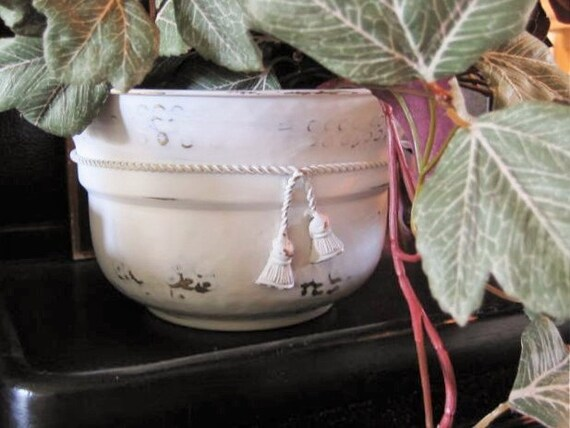 White Painted Brass Planter / Shabby Painted Hammered Brass Planter