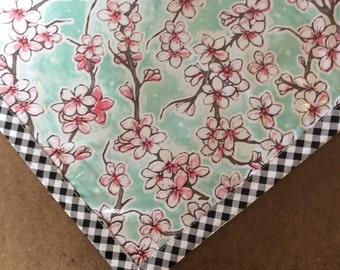 Oilcloth Tablecloth Rectangular Cherry Blossom Aqua With Black Gingham Trim