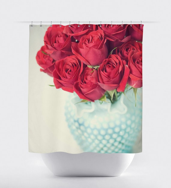 Shower Curtain Vintage Red Roses Teal By KaliLainePhotography