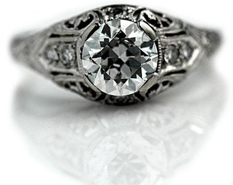 Antique Engagement Ring 1.23ctw European Cut Antique Diamond Engagement Ring 18Kt White Gold Filigree Engagement Ring