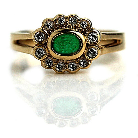 emerald engagement ring 14k yellow gold estate by