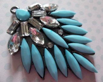 Retro Style Turquoise Blue Pendant with Rhinestones in Black Setting - 40mm X 54mm - Qty 1