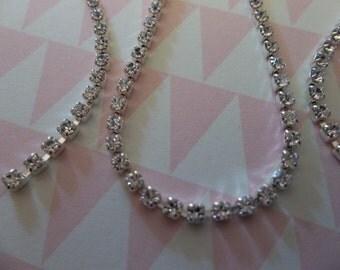 2mm Clear Rhinestone Chain - Silver Plated Setting - Crystal Clear Preciosa Czech Crystals