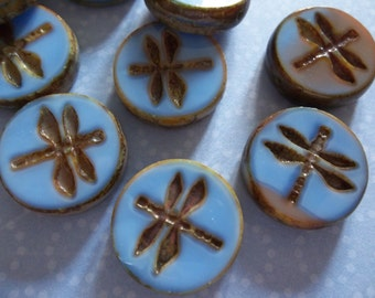 Designer Czech Glass Dragonfly Beads - 17mm Round - Blue Silk & Pink Mix w Brown Picasso Rims -  Double Sided Table Cut Coin Beads - Qty 4