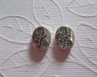 Silver Long Stem Rose Bouquet Print Oval Beads - Silver Plated Pewter - 10mm X 13mm - Qty 6
