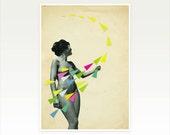Geometric Art, Female Portrait - She's a Whirlwind