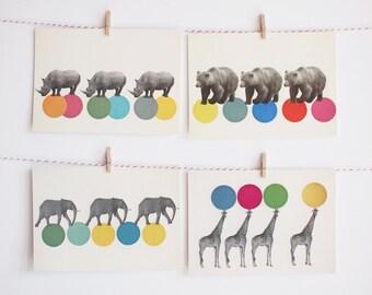 Art Postcard Set, Animal Postcards, Affordable Art, Modern Stationery, Gift Ideas - Roaming Animals