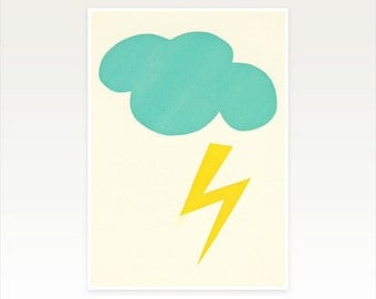Nursery Decor, Turquoise Art, Minimalist Art - Lightning Strike