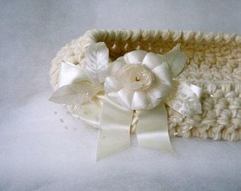 OOAK Baptism White Newborn Basket with white flower Photo prop Cocoon Newborn photo prop White nest Newborn Artistic Crochet Infant Active