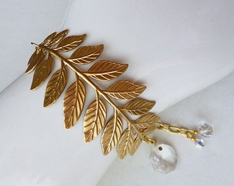 Golden Fern // Brass Leaf Cuff Bracelet with Chandelier Crystal Charm, Brass Leaf Stamping, Vintage Chandelier Crystal, Swarovski AB Crystal