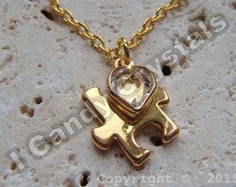 Autism Puzzle Piece Crystal Heart Necklace