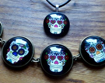Sugar Skull Day of the Dead Día de Muertos necklace and bracelet set  Coupon Code NEWYEARSALE2017FEB 10% Off Plus Thank you Code