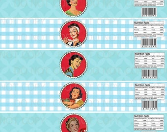 Printable DIY 1950's Retro Housewife Birthday Party Water Bottle Labels