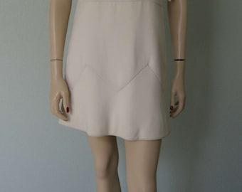Rare 1960s Attributed to // Renato Balestra Italian Couture // Mod Silk  Crepe Gabardine Mini Dress // Winter White /