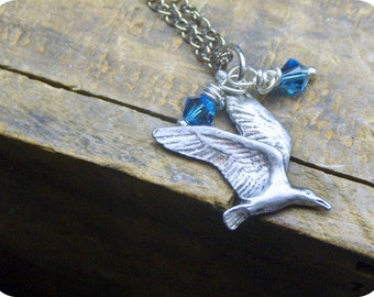 Bantam Hummingbird necklace Pewter Charm & blue Swarovski crystal handmade petite necklace something blue Boho sweet petite humming bird