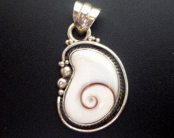 White Shell Pendant - Handmade Sterling Silver and Shiva Eye Pendant - Shell Statement Pendant - White Spiral Shell Pendant