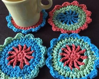 Crochet coasters/ Four Crochet Coasters/drink coasters/Handmade crochet coasters/Handmade drink coasters/coaster set