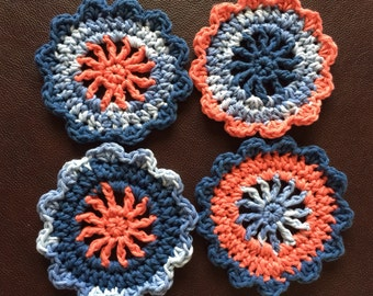 Crochet Coasters/Drink coasters/ Four Crochet coasters/ Handmade crochet coasters/crochet coaster set/crochet coaster gift set/