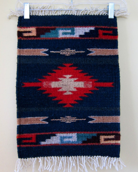 Vintage Hand Woven Mexican Rug / Small Wall Hanging