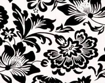 Floral Stretch Fabric Black Lycra 1.8yds