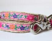 """Floral Dog Leash, 4ft Dog Leash, 5/8"""" Wide Dog Leash, Pet Leash, Pink Flower Ribbon Dog Leash"""