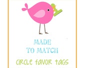 MADE to MATCH: Set of 8 Circle Scallop Favor Tags. Custom Favor Tags. Gift Tags. You Choose Theme.