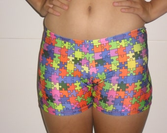 puzzle piece spandex shorts
