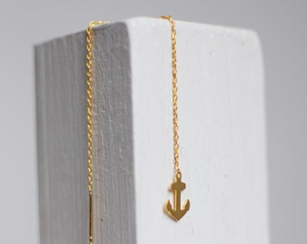 Anchor earring -gold plated and sterling silver-free shipping