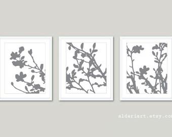 Modern Magnolia Tree in Bloom Art Prints / Magnolia Tree Trio / Slate Grey Color / Spring Tree Home Decor / Magnolia Triptych