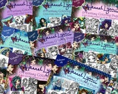 DEAL Fantasy CardStock Coloring Pages Book Pack Volumes 1 to 8 Mermaid Fairy Art by Hannah Lynn