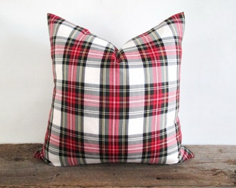Pillow Cover Stewart Modern White Tartan Plaid Zipper Opening