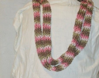Thick Variagated Pink Knitted I Chord Necklace