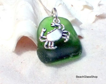 Beach Glass Necklace - Sterling Sea Glass Necklace Crab - Charmed Necklace - Lake Erie Beach Glass