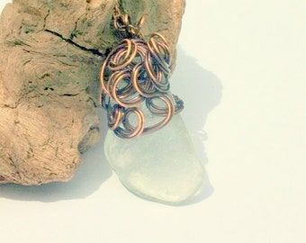 Sea Glass Necklace - Copper Necklace -  Lake Erie Beach Glass  Jewelry