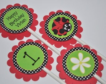 Ladybug Birthday Cupcake Toppers - Girls Birthday Party - Personalized Party Decorations - Ladybug and Daisy - Red, Green, Black - Set of 12