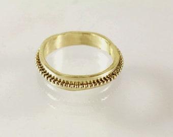 Delicate gold wedding band, solid 14k gold skinny wedding ring, dainty wedding ring