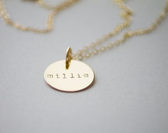 Personalized Gold Necklace - 14k Gold Fill - Hand Stamped Jewelry - Layering Necklace - Dainty Gold Necklace by Betsy Farmer Designs