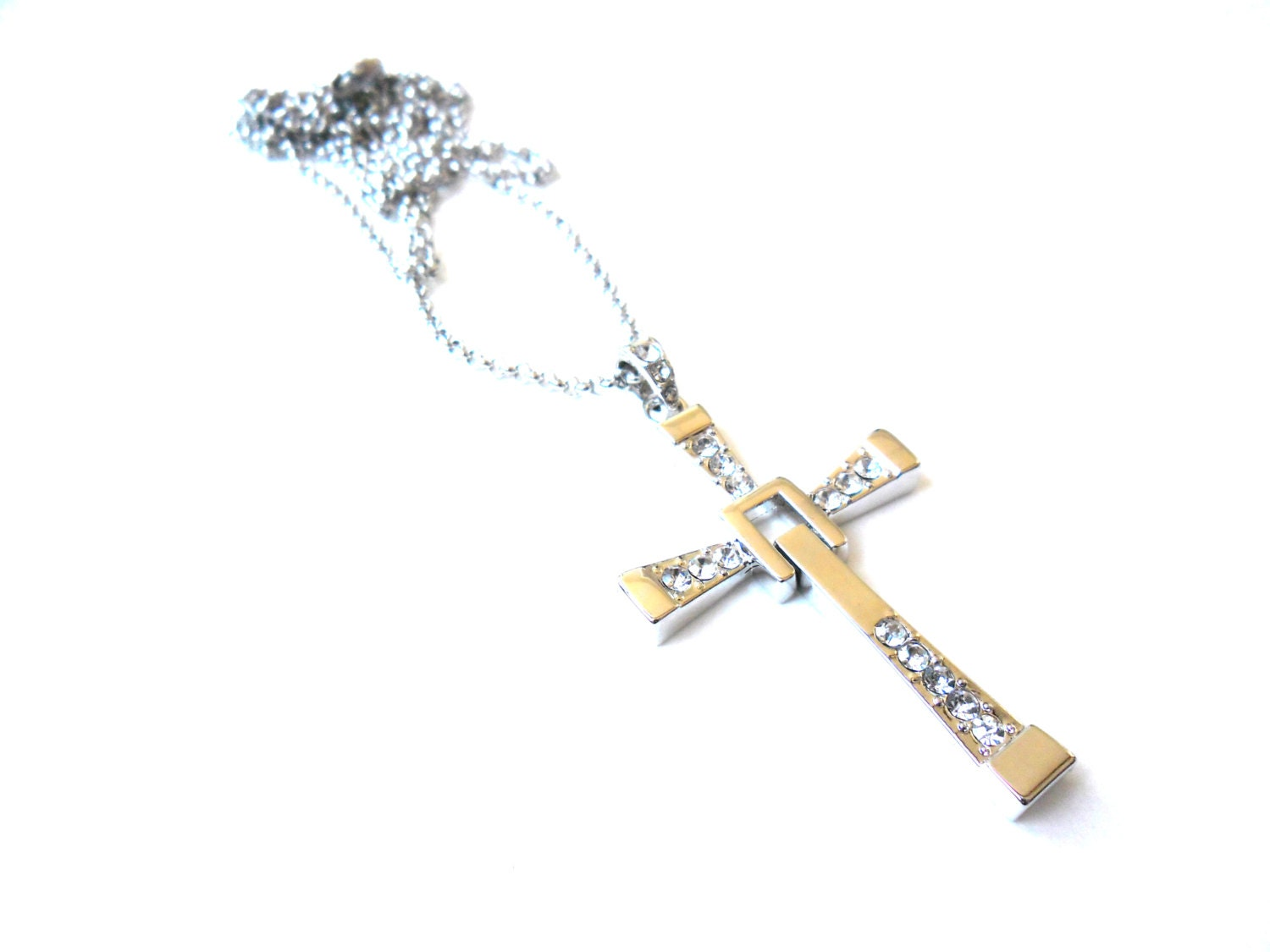 Christian Cross Mens Necklace Zirconia Silver Plated by ...