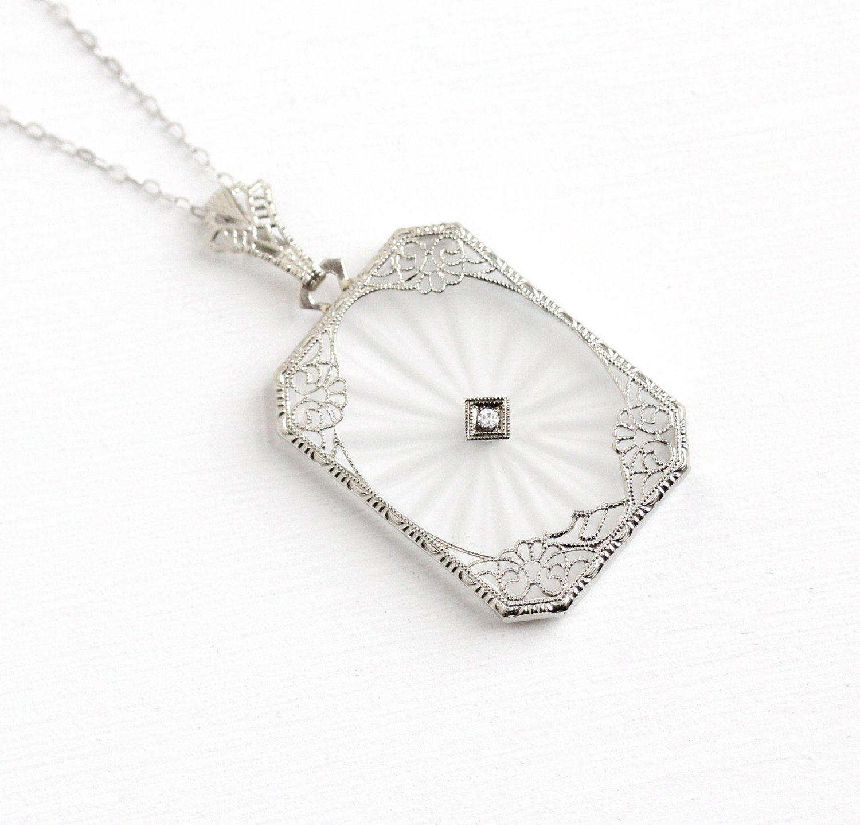 sale antique art deco 14k gold rock crystal diamond pendant