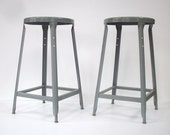 Vintage Industrial Painted Metal Task Stools / PAIR / Set of 2 / Drafting Stools / Bar Stools / Desk Stools