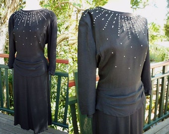 1940s L XL 39-33-44 Black Rayon Crepe Beaded Dress Sz 8 10 12 14