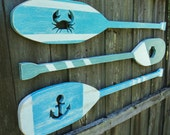 Set Of 3 Nautical Cutout Wooden Oars, Lake House Decor, Beach house Wall Art